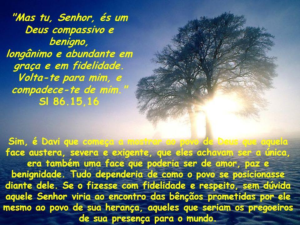 O salmo 86 é um daqueles que nos apresenta a noção de um Deus único e eterno sendo descoberta pelo rei-poeta para o povo que era seu: Inclina, Senhor, os teus ouvidos...