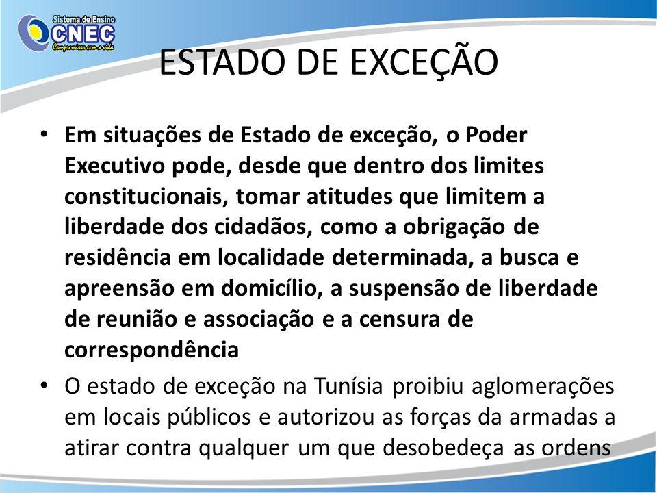 ESTADO DE EXCEÇÃO Em situações de Estado de exceção, o Poder Executivo pode, desde que dentro dos limites constitucionais, tomar atitudes que limitem