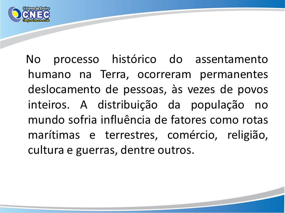 No processo histórico do assentamento humano na Terra, ocorreram permanentes deslocamento de pessoas, às vezes de povos inteiros. A distribuição da po
