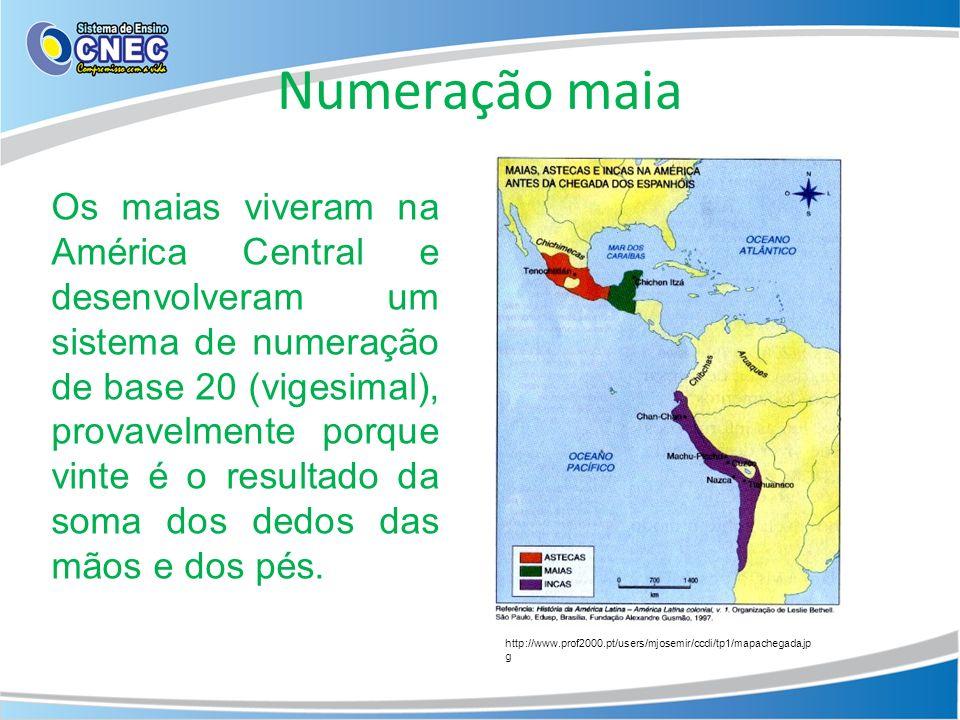 Numeração maia http://www.prof2000.pt/users/mjosemir/ccdi/tp1/mapachegada.jp g Os maias viveram na América Central e desenvolveram um sistema de numer