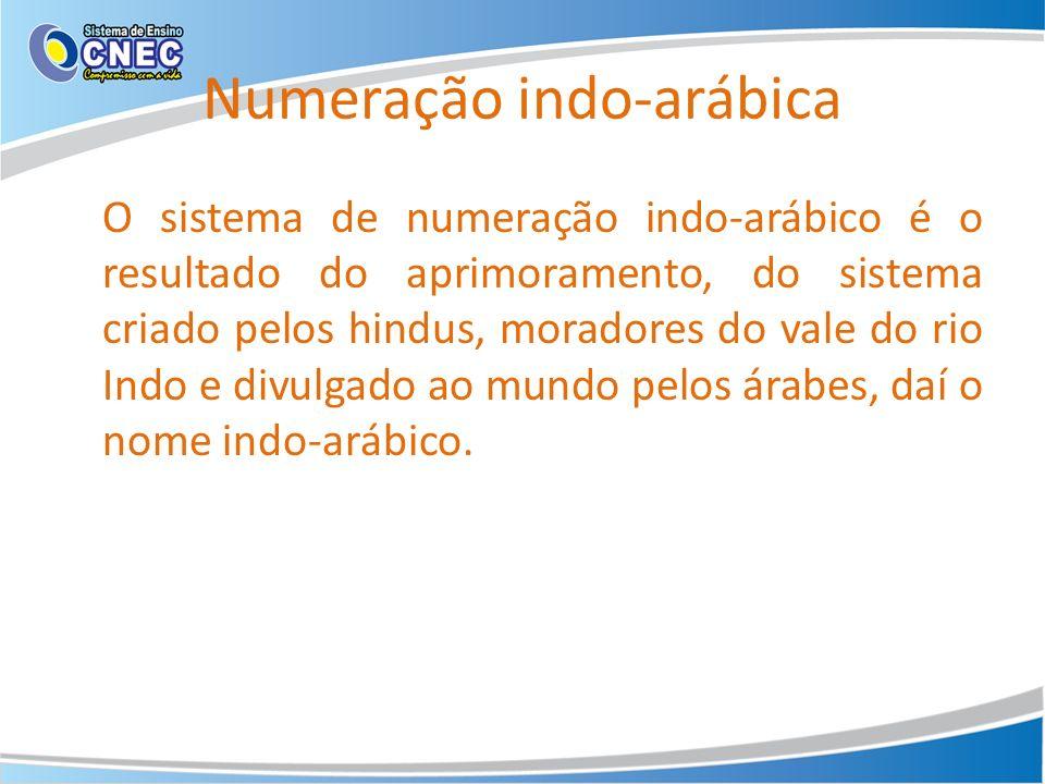 Numeração indo-arábica O sistema de numeração indo-arábico é o resultado do aprimoramento, do sistema criado pelos hindus, moradores do vale do rio In