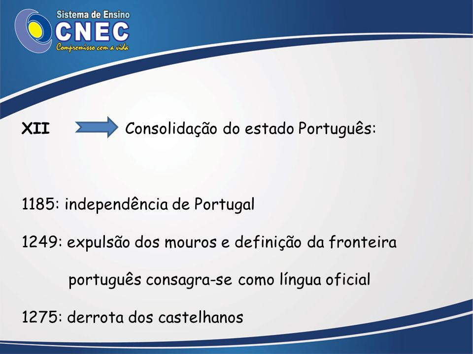 XII Consolidação do estado Português: 1185: independência de Portugal 1249: expulsão dos mouros e definição da fronteira português consagra-se como lí