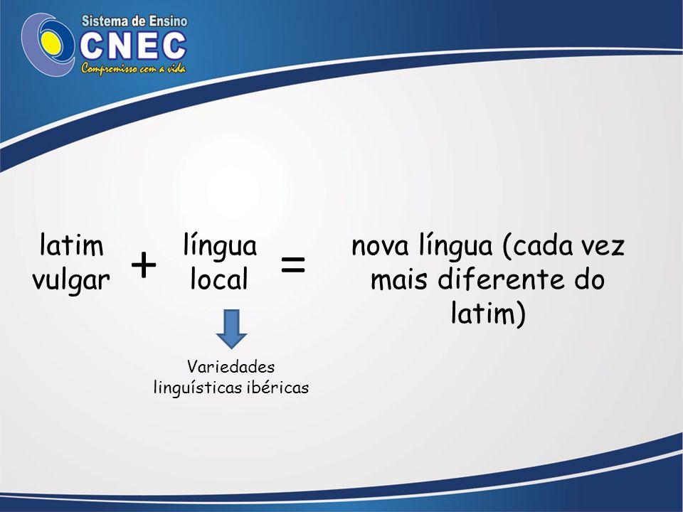 latim vulgar língua local nova língua (cada vez mais diferente do latim) += Variedades linguísticas ibéricas