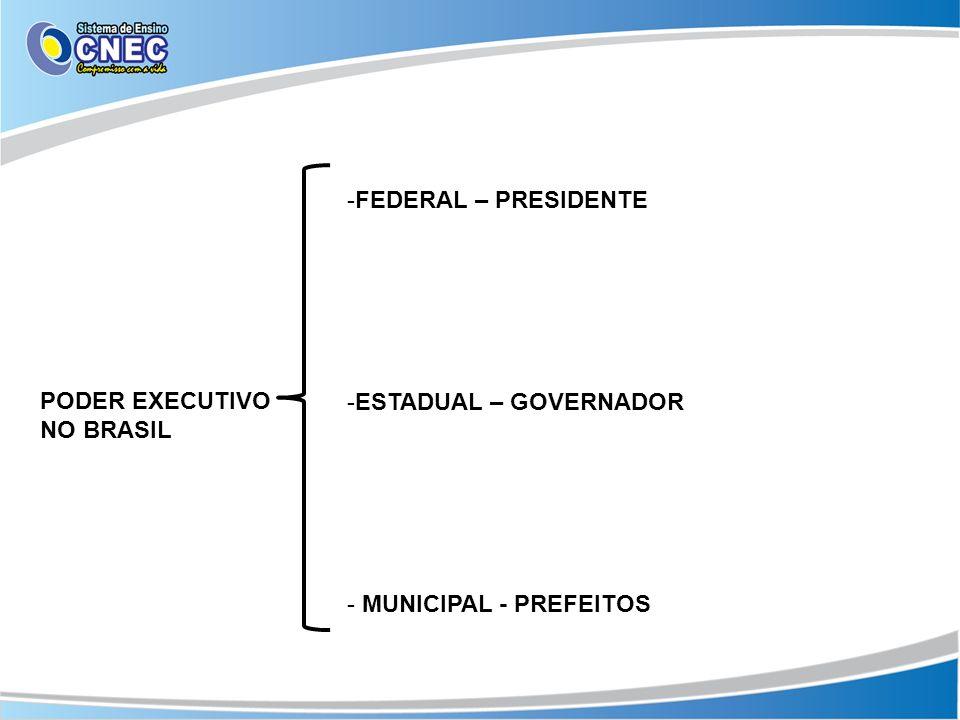 PODER EXECUTIVO NO BRASIL -FEDERAL – PRESIDENTE -ESTADUAL – GOVERNADOR - MUNICIPAL - PREFEITOS