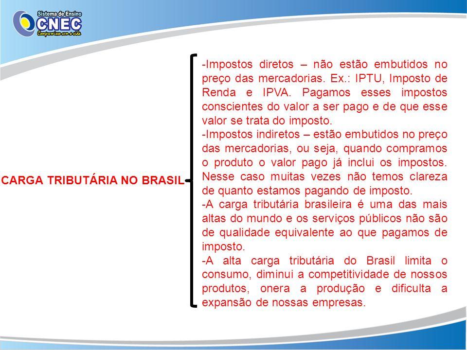 CARGA TRIBUTÁRIA NO BRASIL -Impostos diretos – não estão embutidos no preço das mercadorias. Ex.: IPTU, Imposto de Renda e IPVA. Pagamos esses imposto