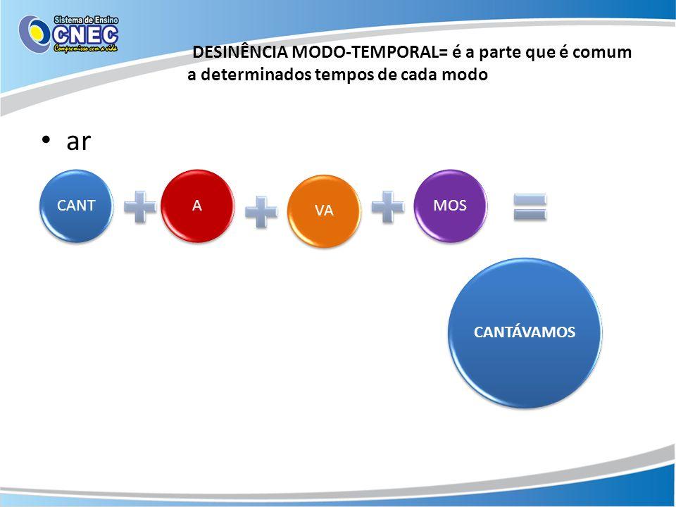 DESINÊNCIA MODO-TEMPORAL= é a parte que é comum a determinados tempos de cada modo ar CANTAVAMOS CANTÁVAMOS
