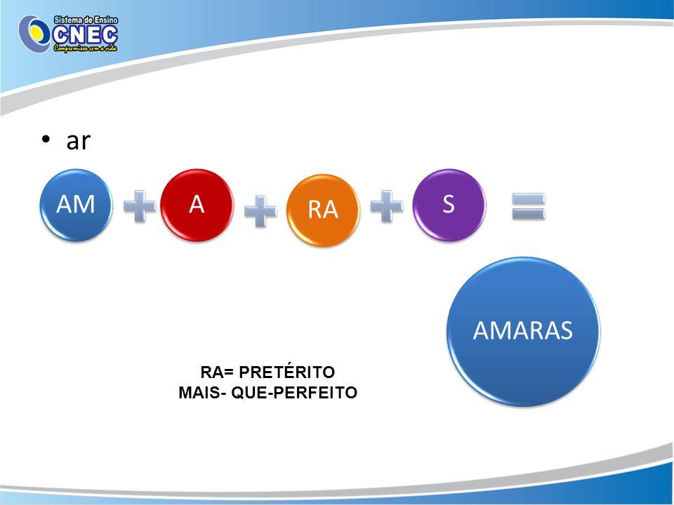 ar AMARAS AMARAS RA= PRETÉRITO MAIS- QUE-PERFEITO