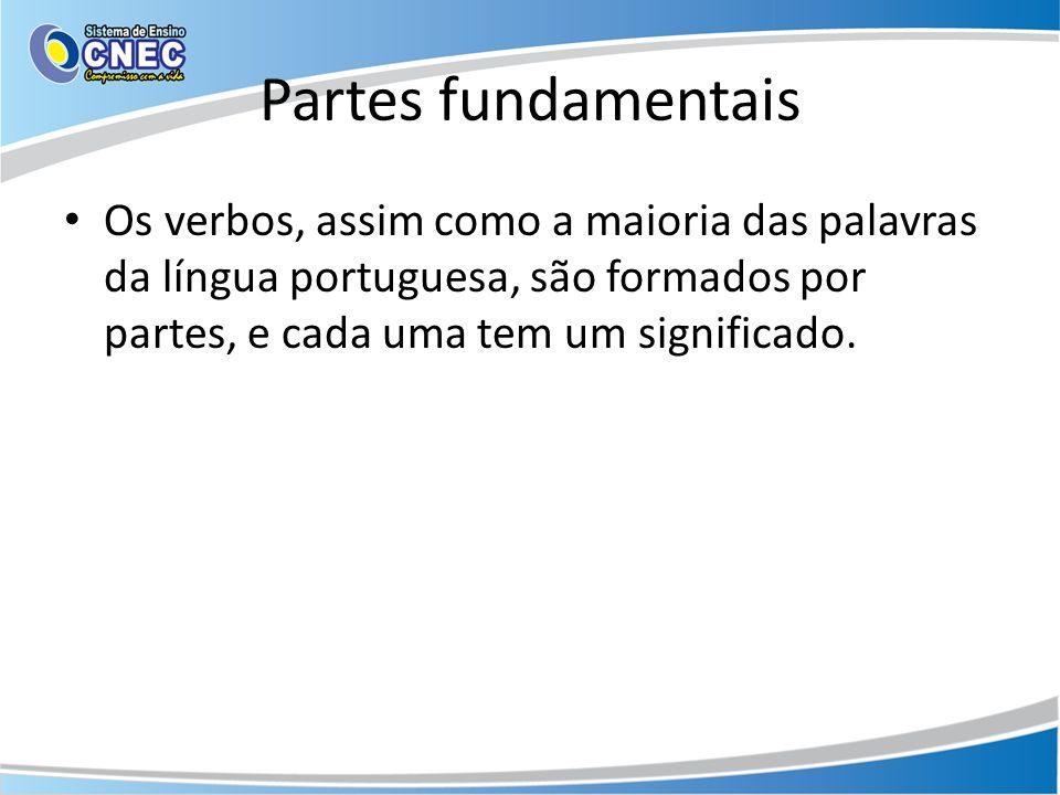 Partes fundamentais Os verbos, assim como a maioria das palavras da língua portuguesa, são formados por partes, e cada uma tem um significado.