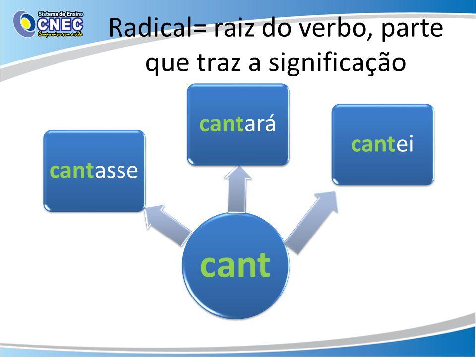 Radical= raiz do verbo, parte que traz a significação cant cantassecantarácantei