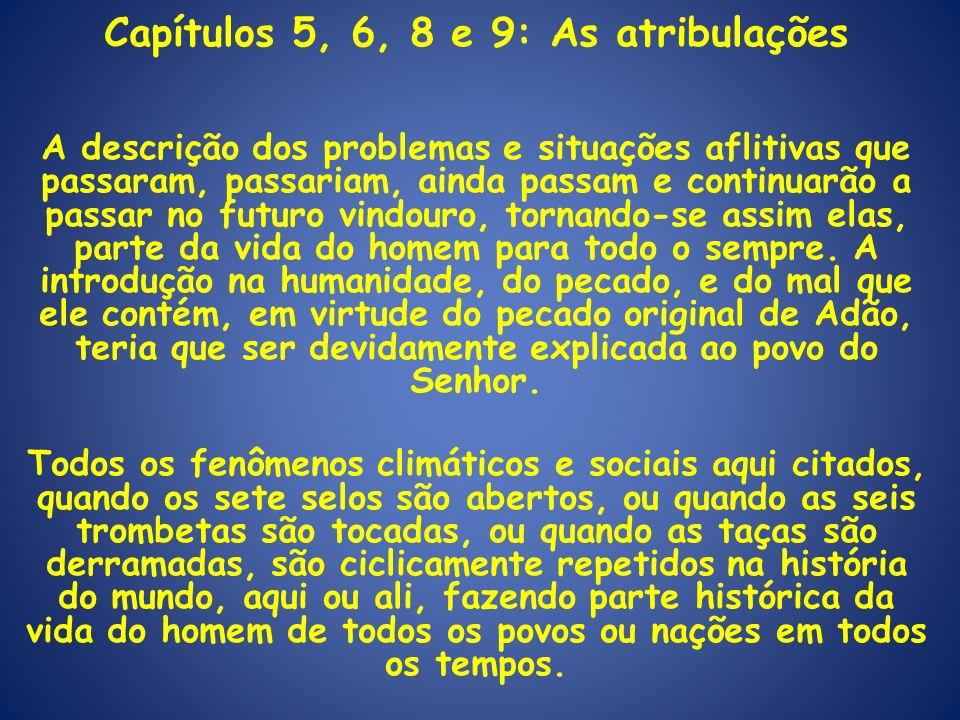 Capítulos 5, 6, 8 e 9: As atribulações A descrição dos problemas e situações aflitivas que passaram, passariam, ainda passam e continuarão a passar no