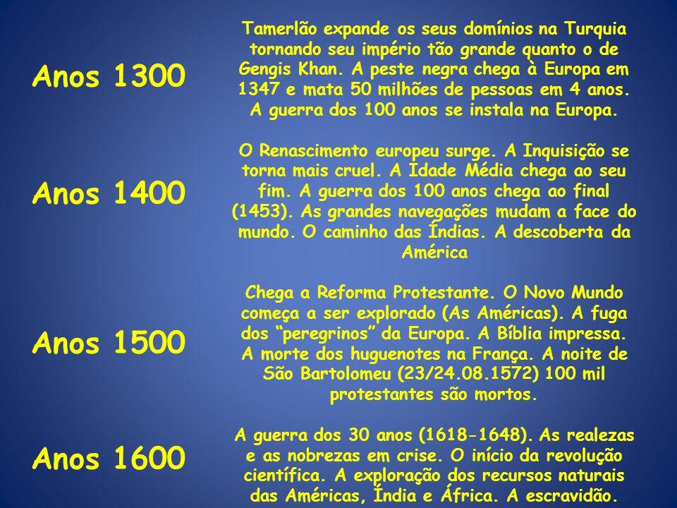 Anos 1300 Anos 1400 Anos 1500 Anos 1600 Anos 1900 Tamerlão expande os seus domínios na Turquia tornando seu império tão grande quanto o de Gengis Khan