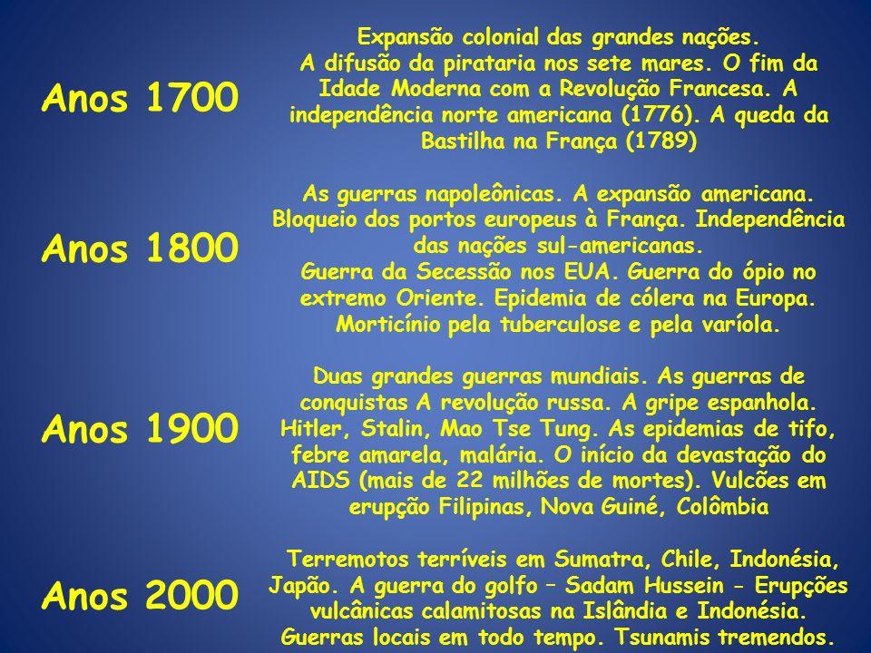 Anos 1700 Anos 1800 Anos 1900 Anos 2000 Anos 1900 Expansão colonial das grandes nações. A difusão da pirataria nos sete mares. O fim da Idade Moderna