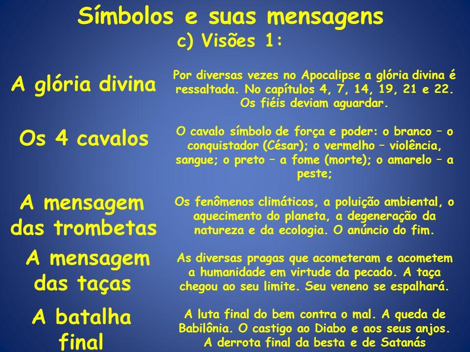 Símbolos e suas mensagens c) Visões 1: A glória divina Por diversas vezes no Apocalipse a glória divina é ressaltada. No capítulos 4, 7, 14, 19, 21 e