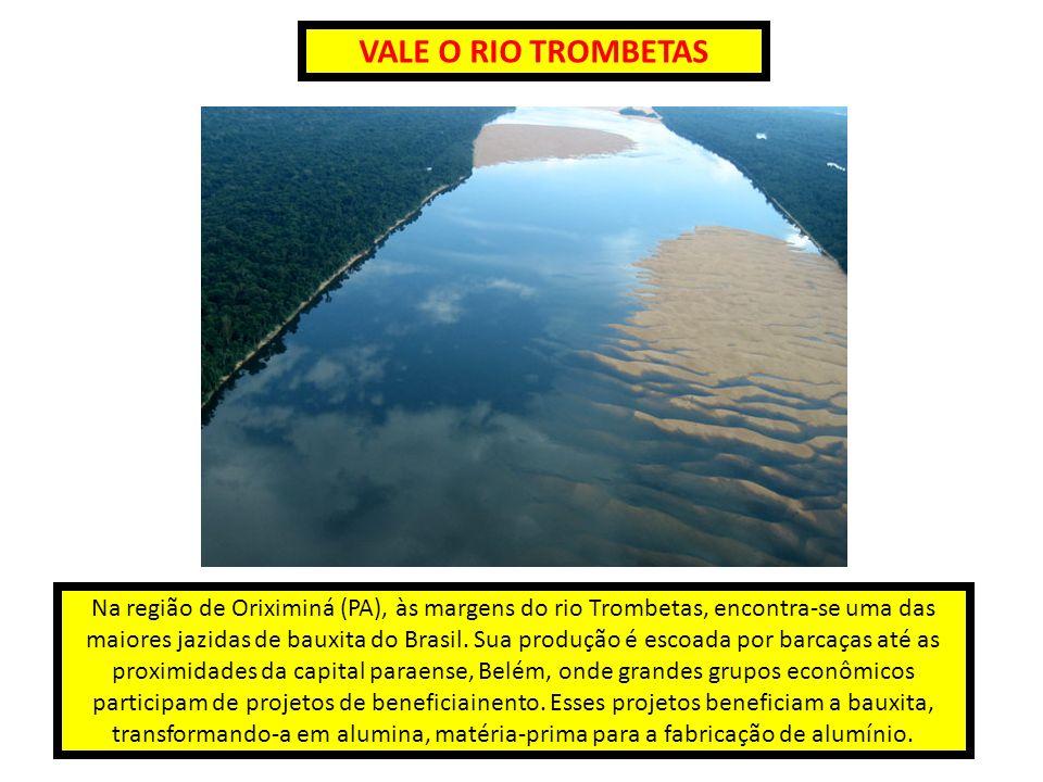 VALE O RIO TROMBETAS Na região de Oriximiná (PA), às margens do rio Trombetas, encontra-se uma das maiores jazidas de bauxita do Brasil. Sua produção