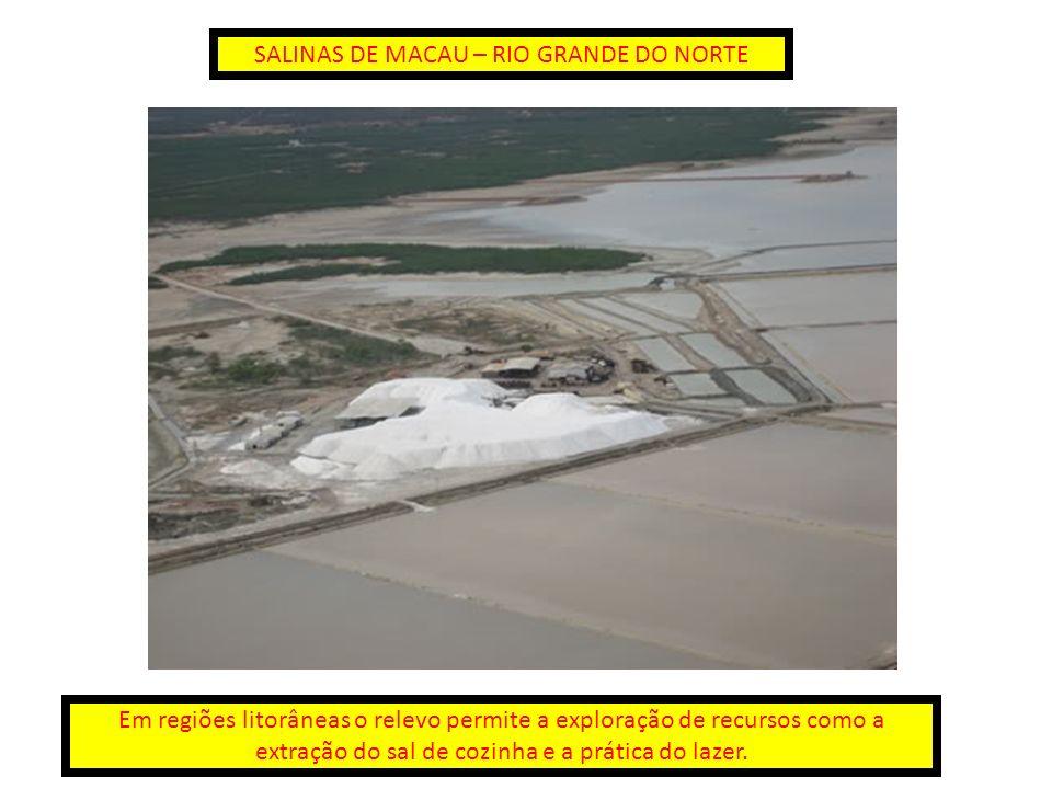 SALINAS DE MACAU – RIO GRANDE DO NORTE Em regiões litorâneas o relevo permite a exploração de recursos como a extração do sal de cozinha e a prática d