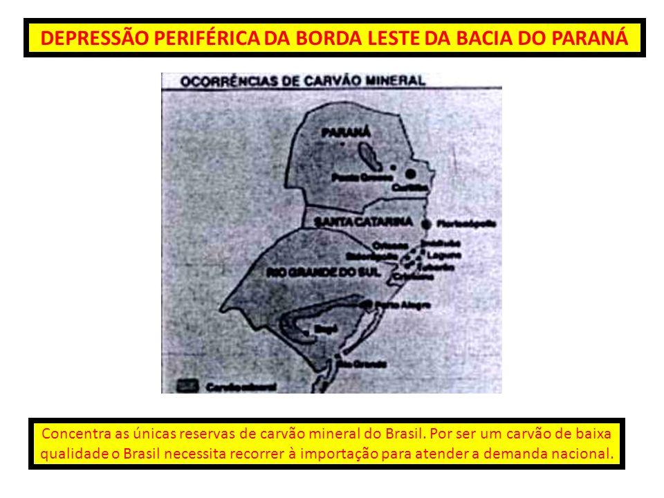DEPRESSÃO PERIFÉRICA DA BORDA LESTE DA BACIA DO PARANÁ Concentra as únicas reservas de carvão mineral do Brasil. Por ser um carvão de baixa qualidade