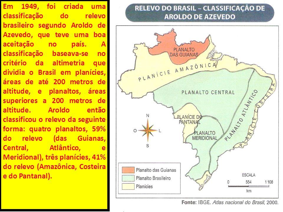 Em 1949, foi criada uma classificação do relevo brasileiro segundo Aroldo de Azevedo, que teve uma boa aceitação no país. A classificação baseava-se n
