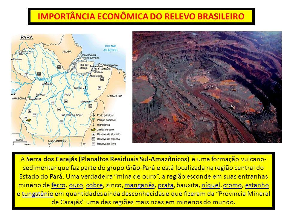 IMPORTÂNCIA ECONÔMICA DO RELEVO BRASILEIRO A Serra dos Carajás (Planaltos Residuais Sul-Amazônicos) é uma formação vulcano- sedimentar que faz parte d