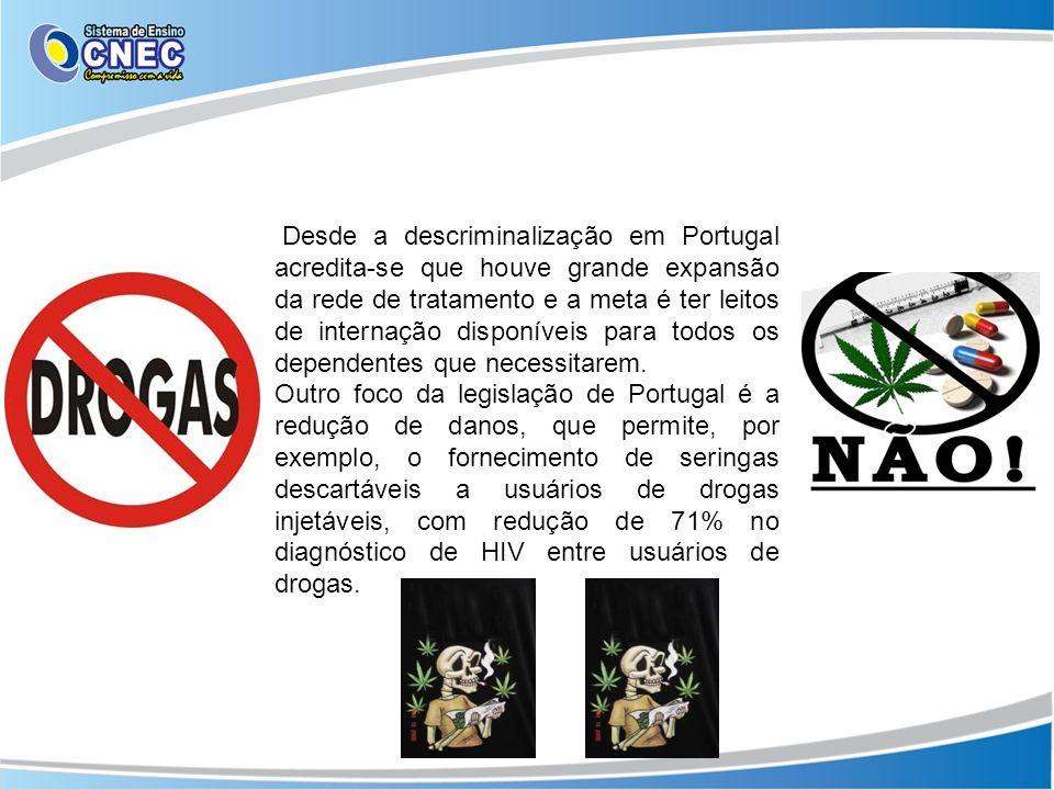 Desde a descriminalização em Portugal acredita-se que houve grande expansão da rede de tratamento e a meta é ter leitos de internação disponíveis para