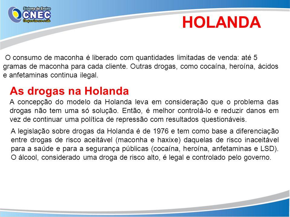 HOLANDA O consumo de maconha é liberado com quantidades limitadas de venda: até 5 gramas de maconha para cada cliente. Outras drogas, como cocaína, he