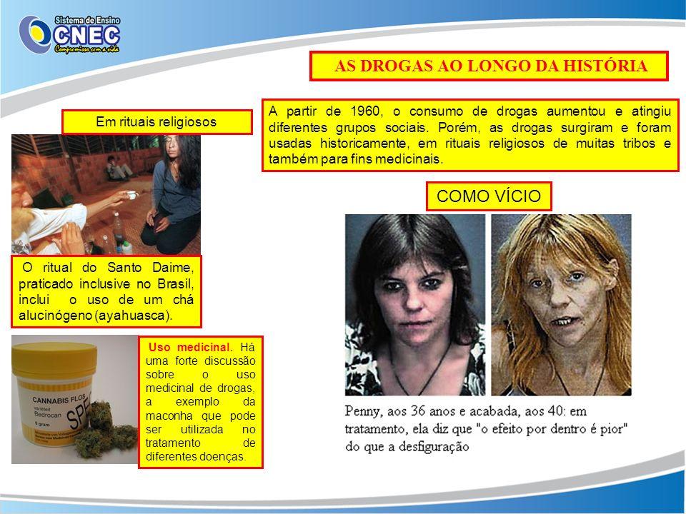AS DROGAS AO LONGO DA HISTÓRIA O ritual do Santo Daime, praticado inclusive no Brasil, inclui o uso de um chá alucinógeno (ayahuasca). Em rituais reli