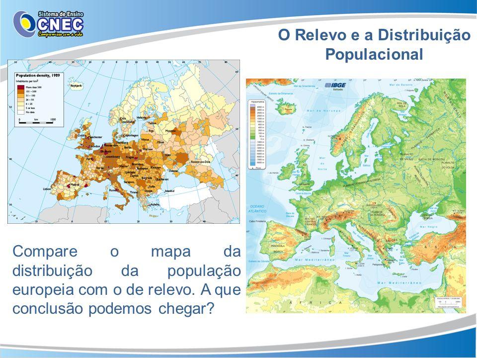 O Relevo e a Distribuição Populacional Compare o mapa da distribuição da população europeia com o de relevo. A que conclusão podemos chegar?