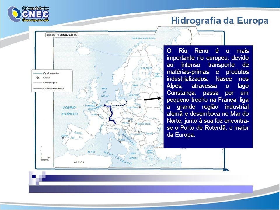 Hidrografia da Europa O Rio Reno é o mais importante rio europeu, devido ao intenso transporte de matérias-primas e produtos industrializados. Nasce n