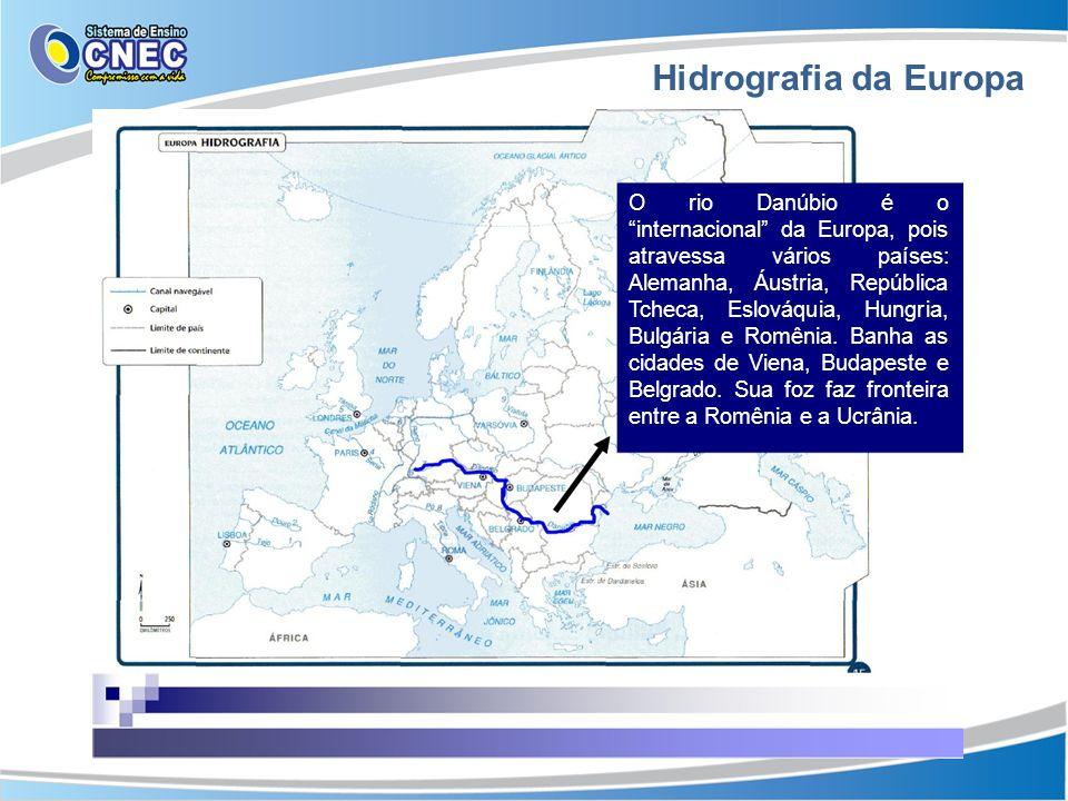 Hidrografia da Europa O rio Danúbio é o internacional da Europa, pois atravessa vários países: Alemanha, Áustria, República Tcheca, Eslováquia, Hungri