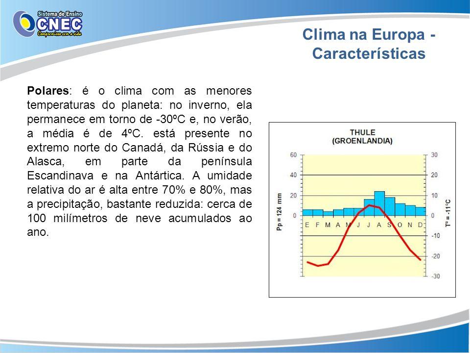 Clima na Europa - Características Polares: é o clima com as menores temperaturas do planeta: no inverno, ela permanece em torno de -30ºC e, no verão,