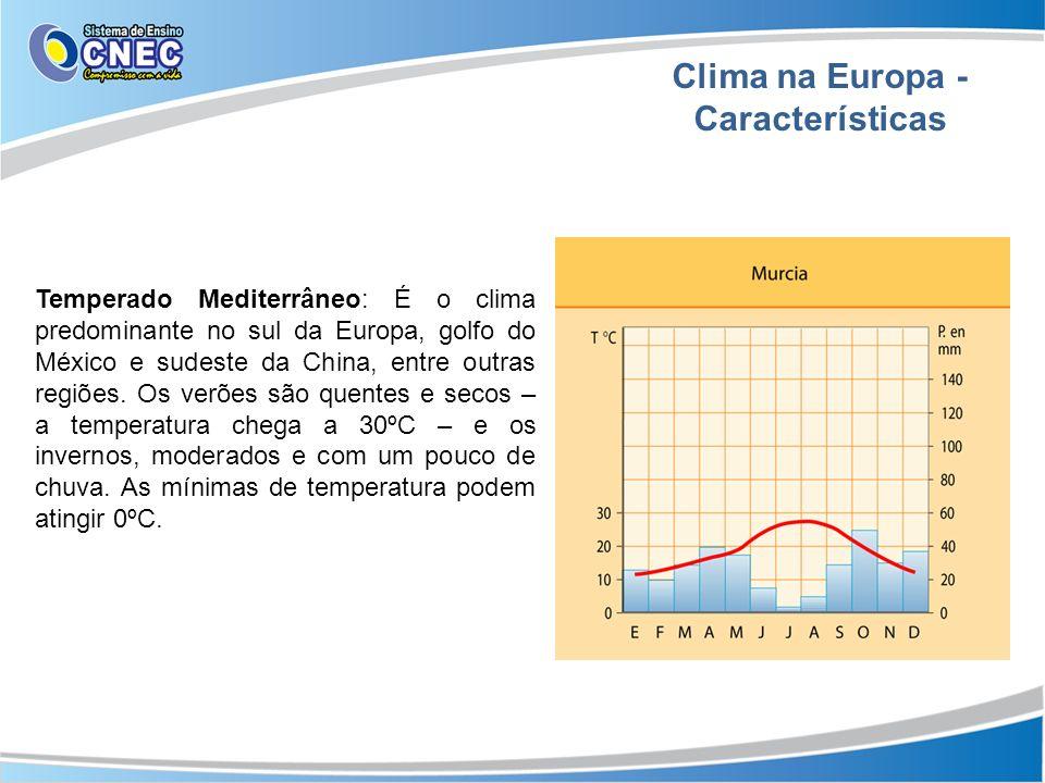 Clima na Europa - Características Temperado Mediterrâneo: É o clima predominante no sul da Europa, golfo do México e sudeste da China, entre outras re