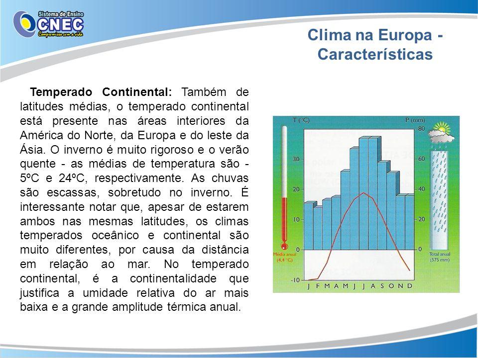 Clima na Europa - Características Temperado Continental: Também de latitudes médias, o temperado continental está presente nas áreas interiores da Amé