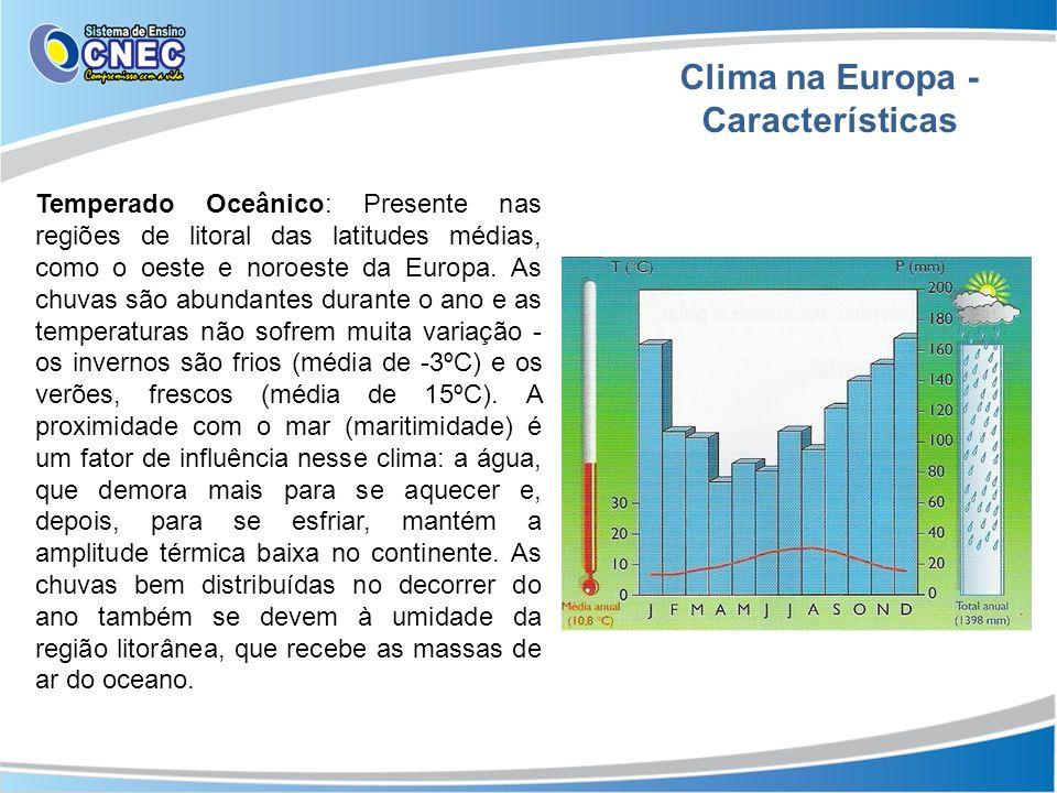 Clima na Europa - Características Temperado Oceânico: Presente nas regiões de litoral das latitudes médias, como o oeste e noroeste da Europa. As chuv