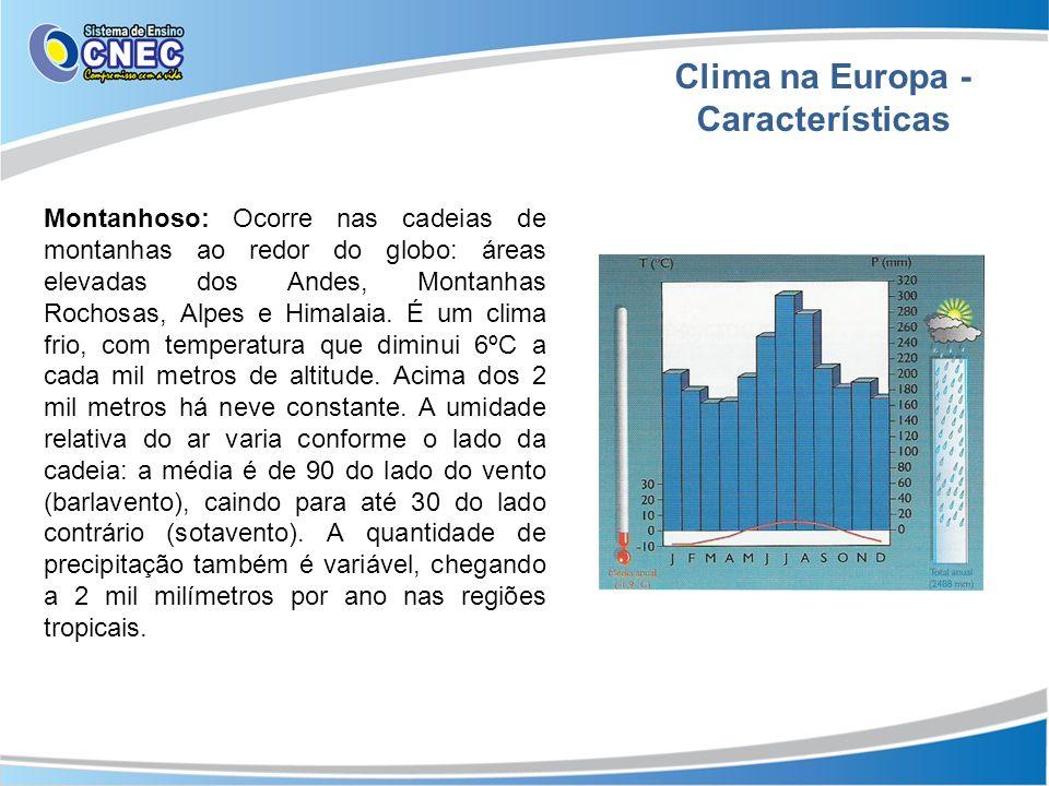 Clima na Europa - Características Montanhoso: Ocorre nas cadeias de montanhas ao redor do globo: áreas elevadas dos Andes, Montanhas Rochosas, Alpes e