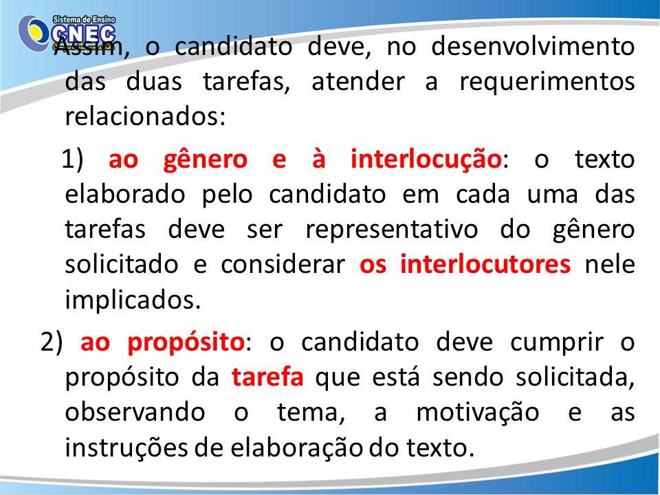 Assim, o candidato deve, no desenvolvimento das duas tarefas, atender a requerimentos relacionados: 1) ao gênero e à interlocução: o texto elaborado p