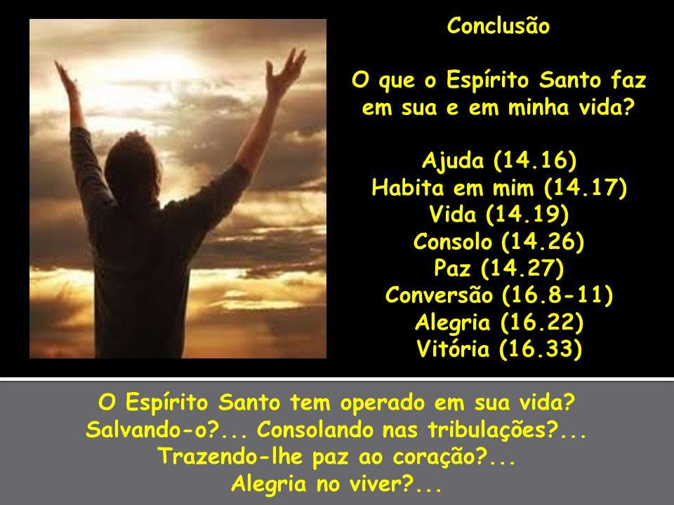 O Espírito Santo tem operado em sua vida? Salvando-o?... Consolando nas tribulações?... Trazendo-lhe paz ao coração?... Alegria no viver?... Conclusão
