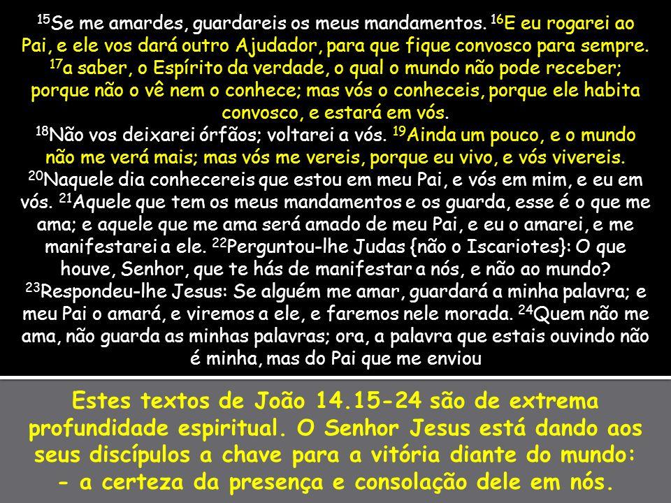 Estes textos de João 14.15-24 são de extrema profundidade espiritual. O Senhor Jesus está dando aos seus discípulos a chave para a vitória diante do m