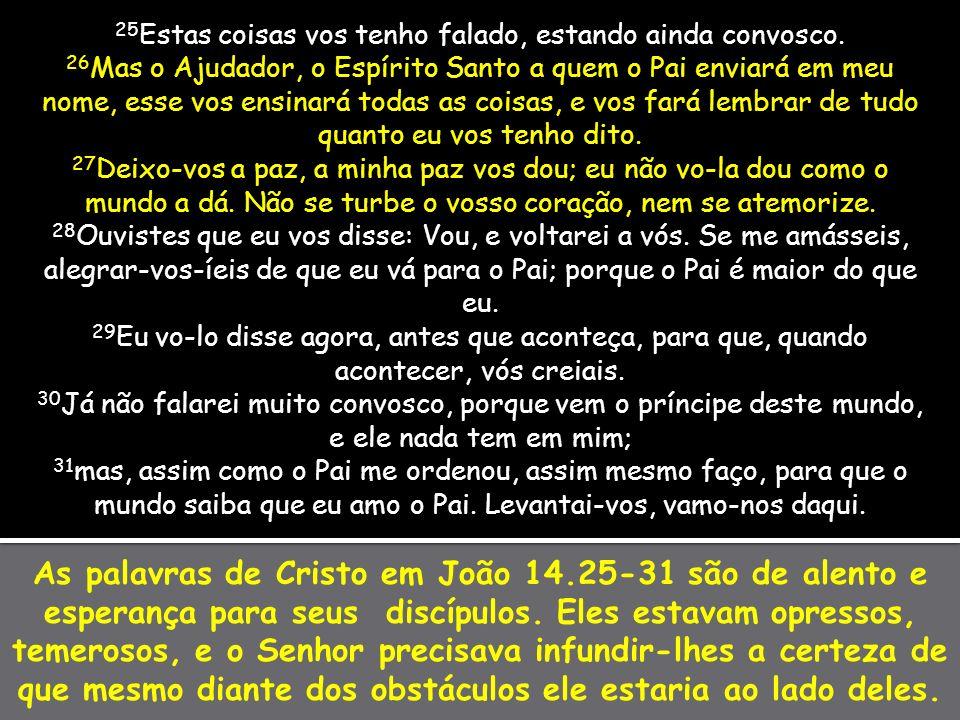 As palavras de Cristo em João 14.25-31 são de alento e esperança para seus discípulos. Eles estavam opressos, temerosos, e o Senhor precisava infundir