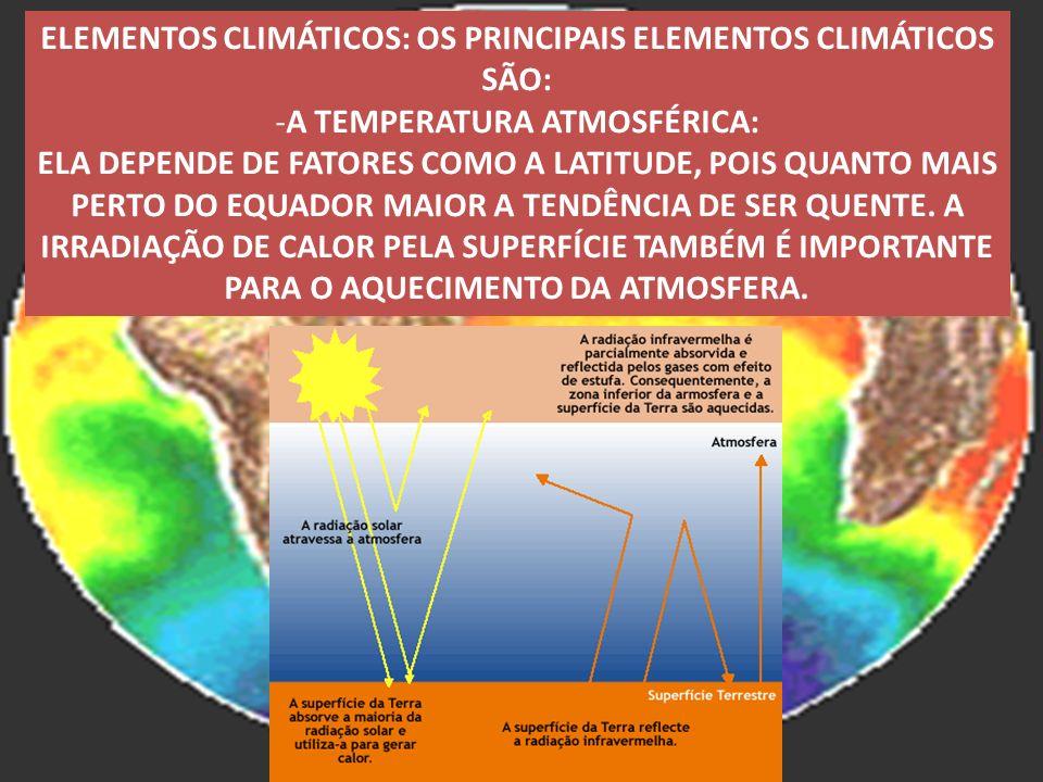 ELEMENTOS CLIMÁTICOS: OS PRINCIPAIS ELEMENTOS CLIMÁTICOS SÃO: -A TEMPERATURA ATMOSFÉRICA: ELA DEPENDE DE FATORES COMO A LATITUDE, POIS QUANTO MAIS PER