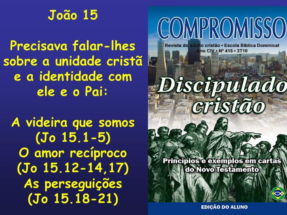 João 15 Precisava falar-lhes sobre a unidade cristã e a identidade com ele e o Pai: A videira que somos (Jo 15.1-5) O amor recíproco (Jo 15.12-14,17)