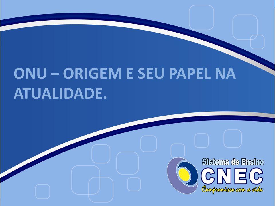 A ONU, ORGANIZAÇÃO DAS NAÇÕES UNIDAS.