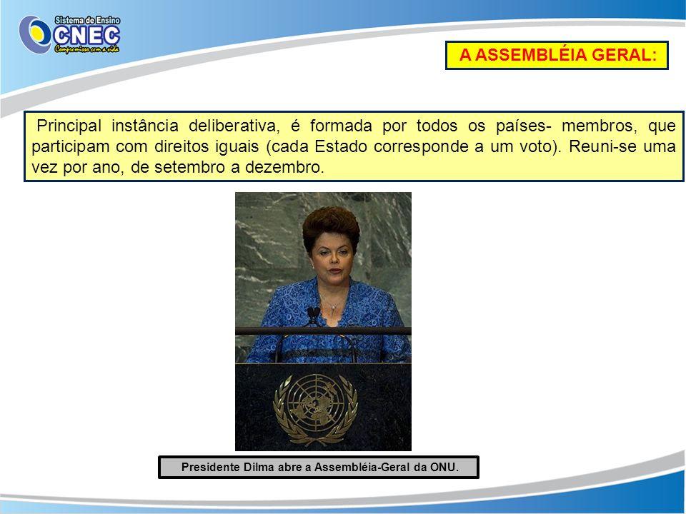 A ASSEMBLÉIA GERAL: Principal instância deliberativa, é formada por todos os países- membros, que participam com direitos iguais (cada Estado correspo