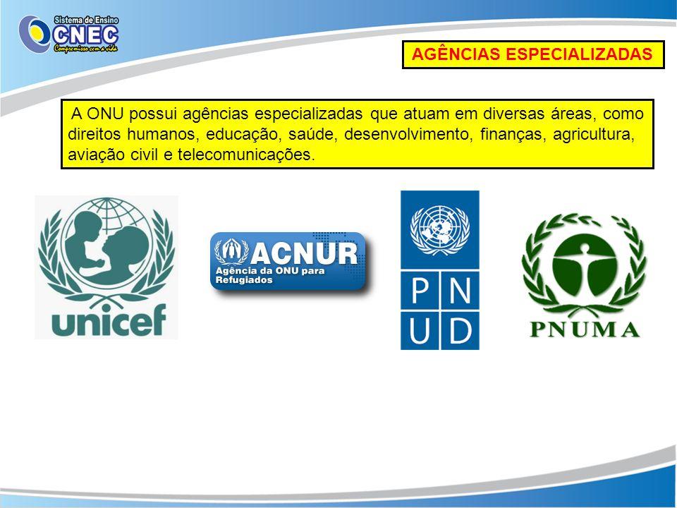 AGÊNCIAS ESPECIALIZADAS A ONU possui agências especializadas que atuam em diversas áreas, como direitos humanos, educação, saúde, desenvolvimento, fin