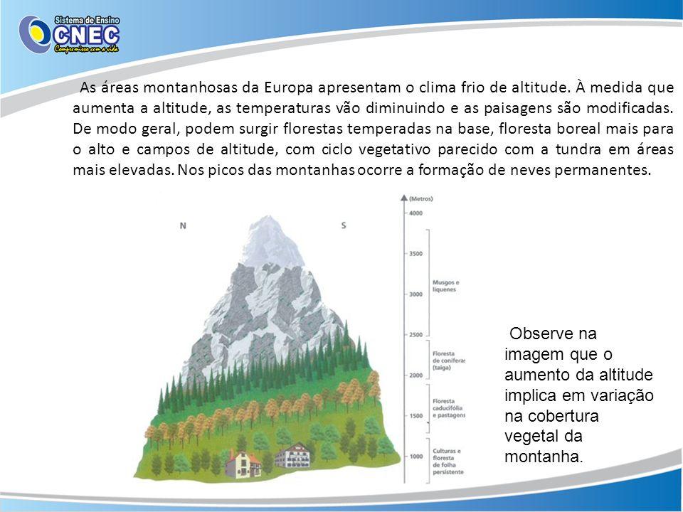 As áreas montanhosas da Europa apresentam o clima frio de altitude. À medida que aumenta a altitude, as temperaturas vão diminuindo e as paisagens são