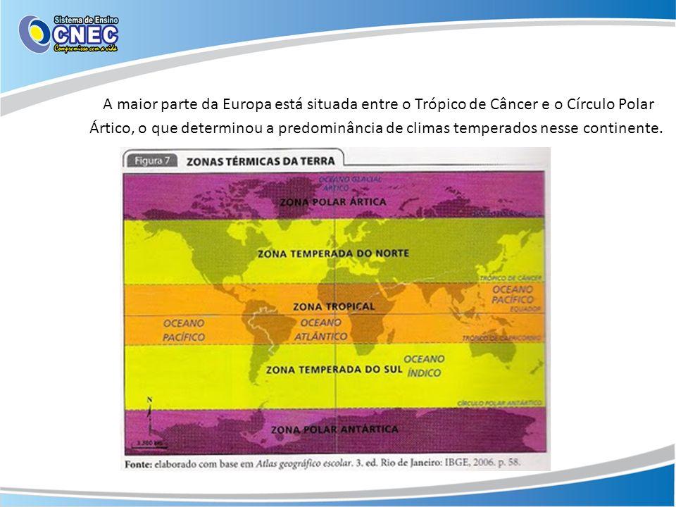 Na porção ocidental da Europa, o clima recebe forte influência do oceano Atlântico, que ameniza os rigores do calor do verão e do frio do inverno provocando boa distribuição das chuvas ao longo do ano.
