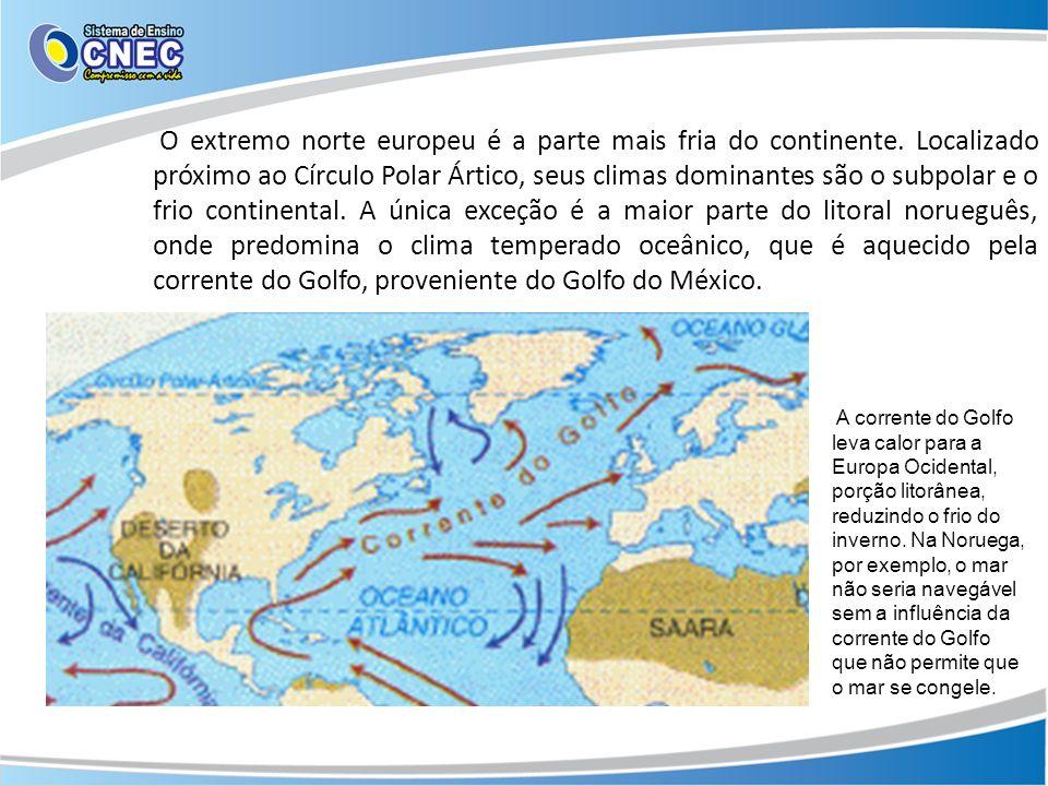 O extremo norte europeu é a parte mais fria do continente. Localizado próximo ao Círculo Polar Ártico, seus climas dominantes são o subpolar e o frio