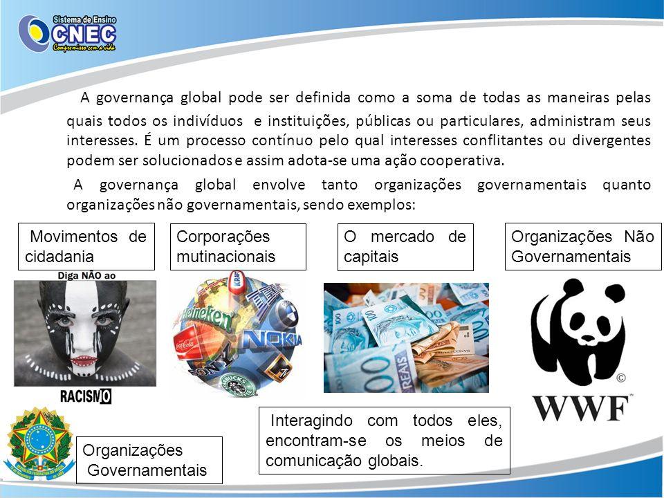 A governança global pode ser definida como a soma de todas as maneiras pelas quais todos os indivíduos e instituições, públicas ou particulares, admin