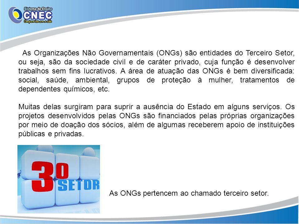 As Organizações Não Governamentais (ONGs) são entidades do Terceiro Setor, ou seja, são da sociedade civil e de caráter privado, cuja função é desenvo