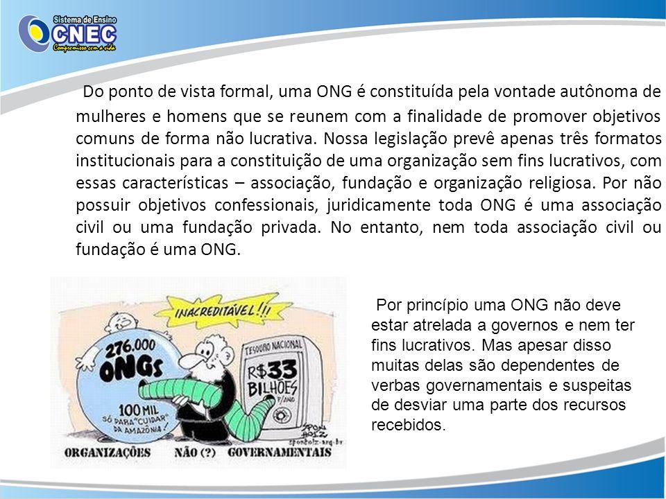 Do ponto de vista formal, uma ONG é constituída pela vontade autônoma de mulheres e homens que se reunem com a finalidade de promover objetivos comuns