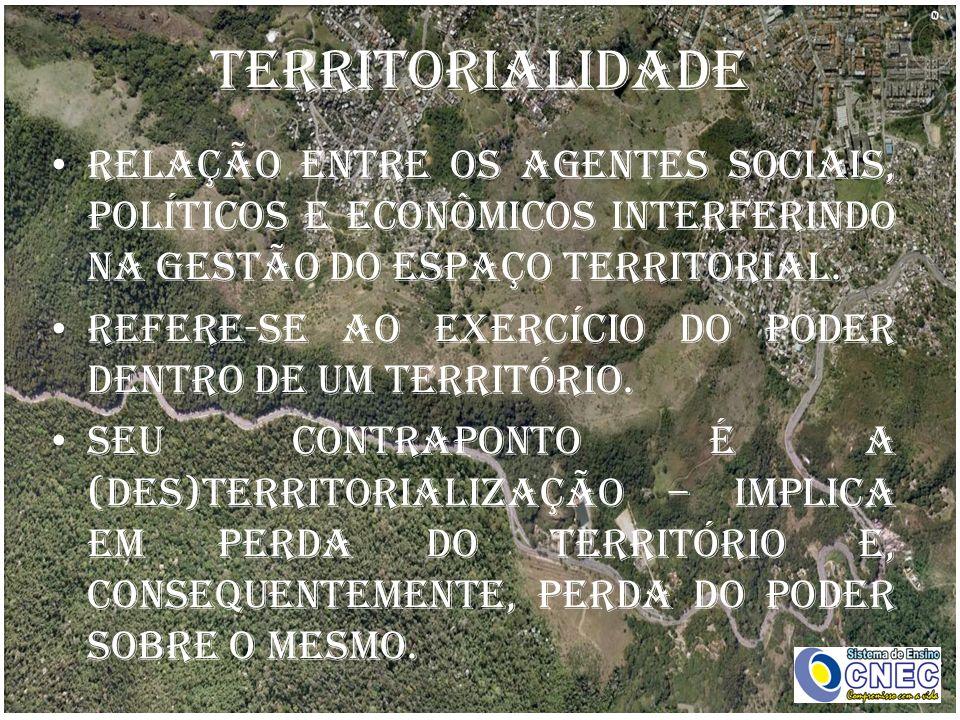 Territorialidade Relação entre os agentes sociais, políticos e econômicos interferindo na gestão do espaço territorial. Refere-se ao exercício do pode