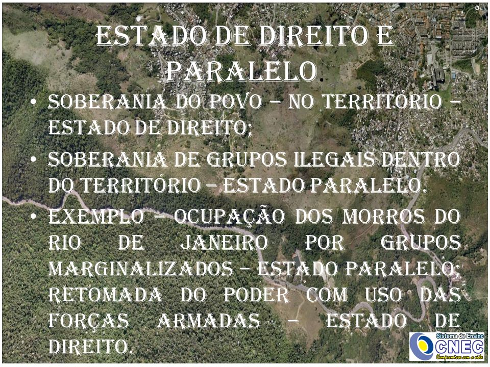 Estado de direito e paralelo. Soberania do povo – no território – estado de direito; Soberania de grupos ilegais dentro do território – estado paralel